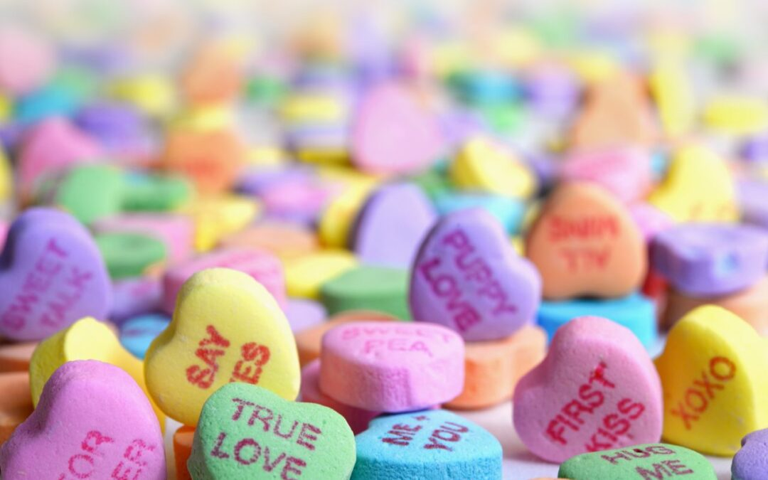 Kids Oral Health tips for making a great valentines day picture with candy hearts